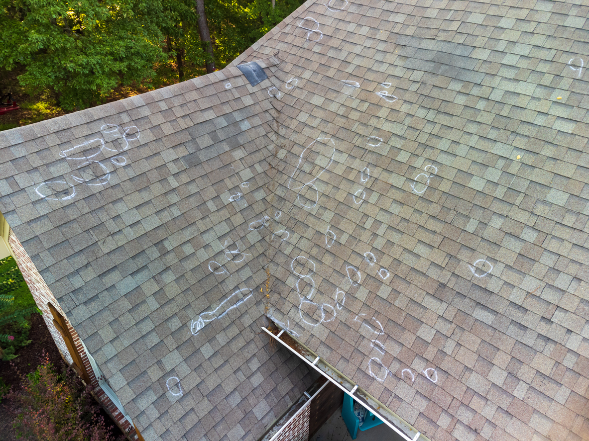 Hail Damaged Roof With Markings